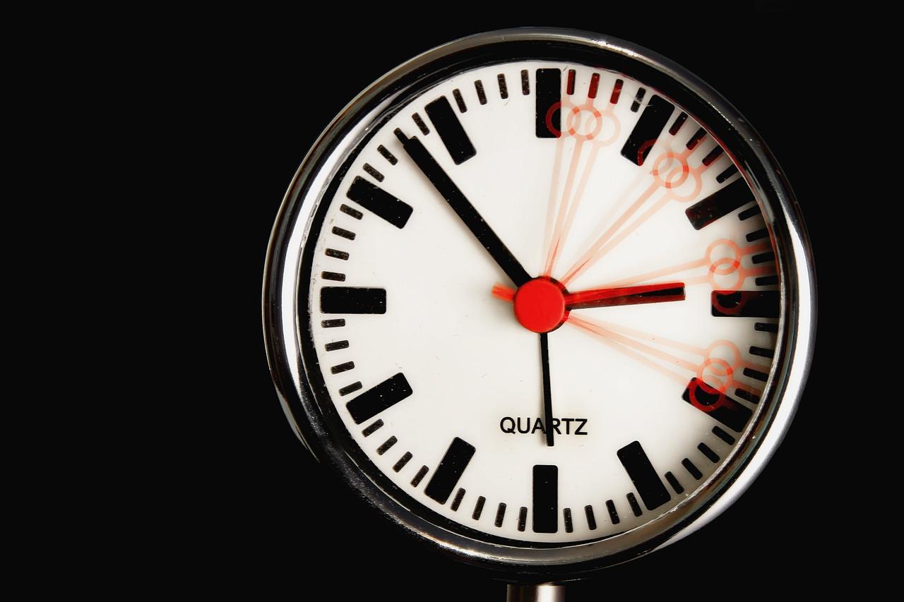 Zeit auf einer Uhr